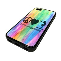 For Apple iPhone 5C 5 C Case Cover Skin Hipster Peace Love Gymnastics Gymnast Love Teenager Quotes Teen DESIGN BLACK RUBBER SILICONE Teen Gift Vintage Hipster Fashion Design Art Print Cell Phone Accessories