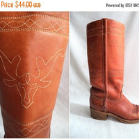 ON SALE Steer stitching leather boots/ vintage campus style boots/ bohemian hippie festival embroidered carmel color boots size womens 7