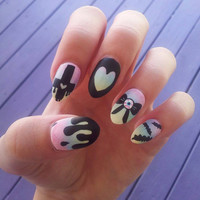 Pastel goth rainbow ombre handpainted fake nails