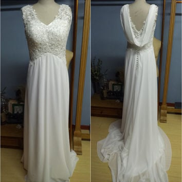 Real Photo V-neck Lace Bodice and Chiffon Skirt Summer Beach Boho Wedding Dress Bridal Gown with Removable Back Shoulder Streamer W065