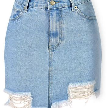 Shelly Distressed Denim Skirt