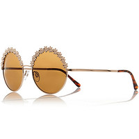 River Island Womens Gold tone flower frame round sunglasses