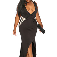 Black Floral Netted V-Neck Sexy Plus Size Cocktail Dress