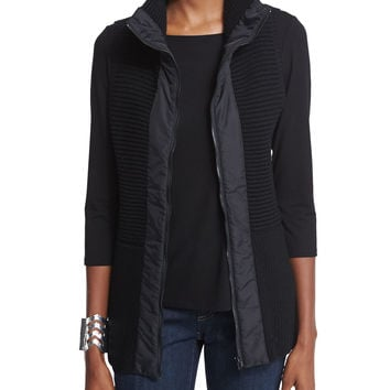 Stand Collar Ribbed Parka Vest, Size: