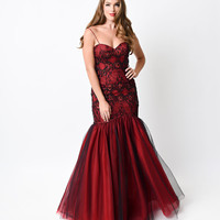 Black & Red Knoxville Mermaid Gown 2016 Prom Dresses