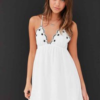 Ecote Embroidered Trim Babydoll Mini Dress