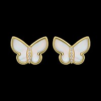 10kt Mother of Pearl and Diamond Butterfly Studs
