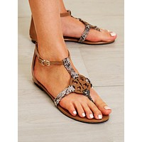 Toe Post Hollow Out Round Decor Sandals