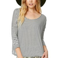 Volcom Long Sleeve Lived In Striped Top - Womens Tee - Black