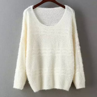 Round Neck Pure Color Wave Mohair Knit Sweater