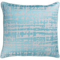 Abstract Check Turquoise Throw Pillow