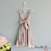 SALE - Eyelet rosy brown lace backless party dress lace trim hemmed Prom Party cocktail dress rosy brown lace dress Small