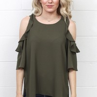 Ruffle Cold Shoulder Blouse {Olive} EXTENDED SIZES
