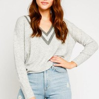 Kixters - Light Grey V Neck Long Sleeve Top