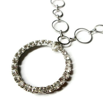 Eternity Circle Necklace, White Clear Rhinestones, Geometric Jewelry, Silver Toned Metal Chain