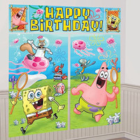 SpongeBob SquarePants Scene Setter Wall Decorations Kit - Kids Birthday and Party Supplies Decoration
