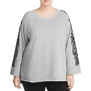 Seven7 Plus Size WomensFrench Terry Bell Sleeve Sweatshirt, Size 1X - Grey