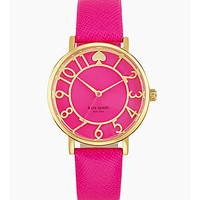 "kate spade new york ""Metro"" Pink Saffiano Leather Strap Watch - Gold/P"