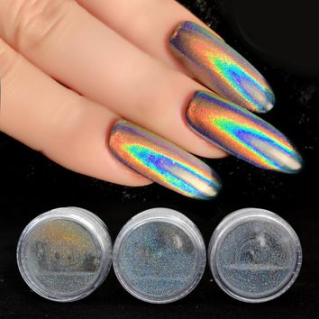 0.2g Unicorn Powder Holographic Glitter Laser Nail Glitter Powder Holo Rainbow Chrome Mirror Powder Dust Nail Art Decor SF2014