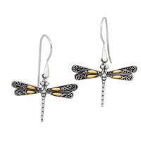 18K Gold & Sterling Silver Dragonfly French Wire Drop Earrings