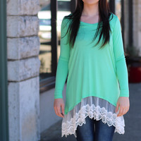 Draped in Lace Tunic {Mint}