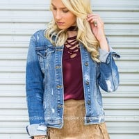 Distressed Chic Denim Jacket
