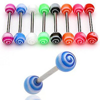 """(Pack of 16) Body Jewelry 14g 5/8"""" Nipple Bar Ring or Tongue Straight Basic Barbell Candy Swirl"""