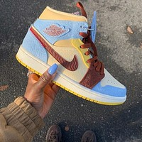 "Nike Air Jordan 1 Mid SE ""Maison Chateau Rouge"" Sneakers Shoes"