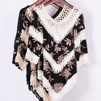 Floral Print Fringed Blouse 10699