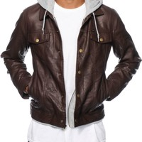 Obey Backstage Hooded Faux Leather Jacket