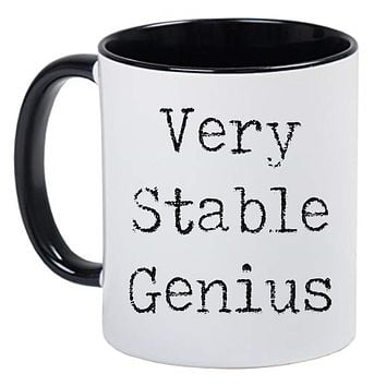 Funny Novelty Political Black and White Coffee Mug - Very Stable Genius in an old Typewriter font style
