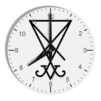 """Sigil of Lucifer - Seal of Satan 8"""" Round Wall Clock with Numbers"""