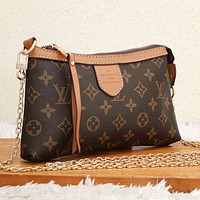 LV  Bag Louis Vuitton Crossbody bag Contrast Edge Bag Coffee Print