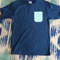 Simply Southern Pocket Tee Navy - Mint Chevron