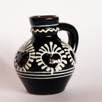 Vintage ceramic vase, little vase, hand painted vase, black and white vase