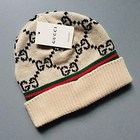 GUCCI Autumn Winter Popular Women Men Warm Knit Hat Cap Beige