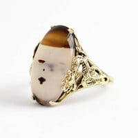 Agate Dragon Ring - Vintage 14k Yellow Gold Oval White & Brown Gem Cabochon - 1940s Size 7 1/4 Unique Mythical Creature Figural Fine Jewelry