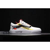 Vans X OFF White Old Skool Trending Women Men Canvas Flat Sport Shoe Sneakers White I-MLDWX