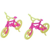 2pcs Handmade Toy Bicycles Bike Doll Accessories Mini Plastic Bike for Barbie Doll Girl Xmas Gift Play House Toy
