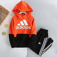 Adidas Girls Boys Children Baby Toddler Kids Child Fashion Casual Top Sweater Hoodie Pullover Pants Trousers Set Two-Piece