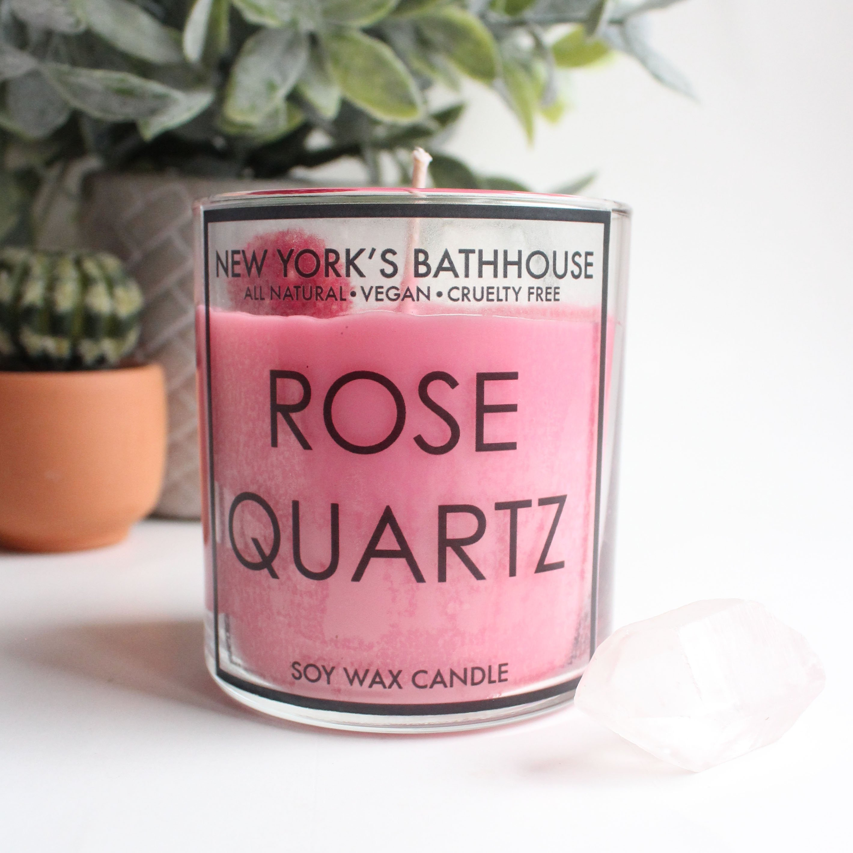 Image of Rose Quartz Healing Crystal Soy Wax Candle