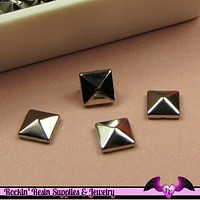 50pc 8mm SILVER TONE  Pyramid Studs / Steampunk Rivets