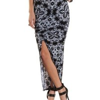 Black Combo Ruched Slit Maxi Skirt by Charlotte Russe