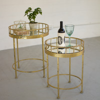 Set of 2 Round Accent Tables with Mirror Tops- Gold Finish