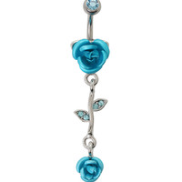 14G Steel Turquoise Flower Drop Navel Barbell