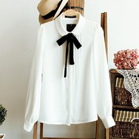 Women Summer Bow Tie White Blouses Turn-down Collar Shirt Ladies Tops School Clothing Chic