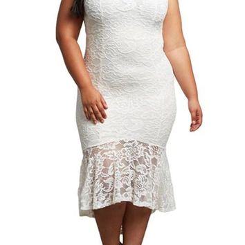 White Lace High Low Bodycon Plus Size Party Dress
