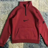 Nike Fashion High Neck Zipper Embroider Logo Long Sleeve Sweater Wine red G-WMGCD