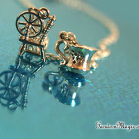 Once Upon a Time, Rumbelle Magical Necklace Spinning Wheel and Teacup Charms, Rumplestiltskin and Belle Ship Name, Inspired by ABC TV Show