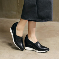 Hot Deal Stylish Casual On Sale Hot Sale Comfort Pointed Toe Thick Crust Wedge Leather Stretch Mosaic Shoes Sneakers [4920454468]
